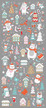 Big Christmas set with traditional Christmas symbols, characters and decorative elements. Vector colorful vertical banner, poster. For decor, design, congratulation cards, print, business, label