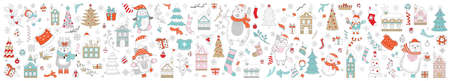 Big Christmas set of Christmas symbols, characters and decorative elements isolated on white. Vector colorful horizontal banner, poster. For decor, design, congratulation cards, print, business, label