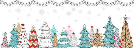 Vector colorful horizontal winter banner garland, Christmas trees and snowflackes isolated on white. Christmas concept. For decor, design, congratulation cards, print, business, label, corporate 矢量图像