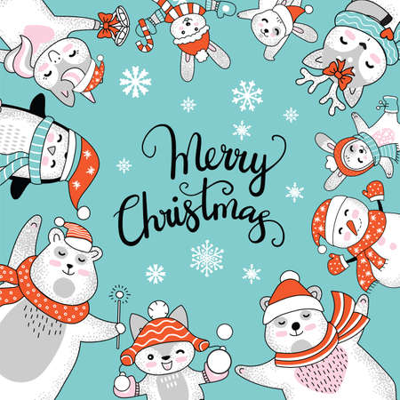 Vector square winter card Christmas characters deer, bear, fox, snowman and lettering Merry Christmas isolated on turquoise. For decor, design, congratulation cards, print, sticker, label, corporate