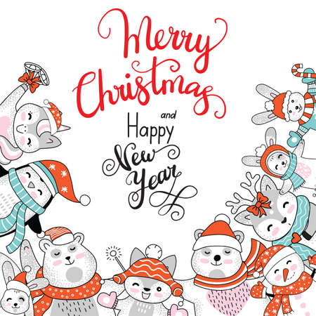 Vector square winter card Christmas characters deer, bear, fox, snowman and lettering Merry Christmas isolated on white. For decor, design, congratulation cards, print, business, sticker, label, corporate 矢量图像