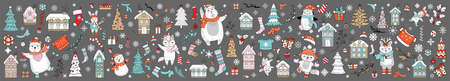 Big Christmas set of Christmas symbols, characters and decorative elements isolated on gray. Vector colorful horizontal banner, poster. For decor, design, congratulation cards, print, business, label
