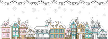 Vector colorful horizontal winter banner garland, Christmas snowy houses and snowflackes isolated on white. Christmas concept. For decor, design, congratulation cards, print, business, label, corporate
