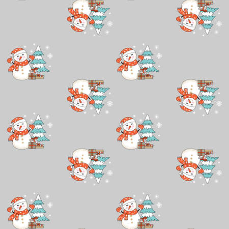Seamless pattern vector illustration. Christmas tree, snowman and snowflakes isolated on gray background. For decor, design, congratulation cards, design cushion, print.