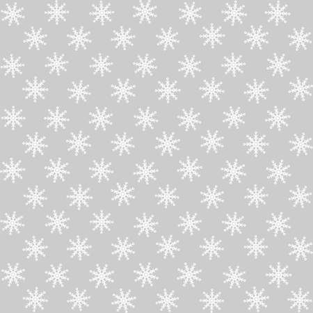 Seamless pattern vector illustration. Christmas white symmetric snowflakes isolated on white background. For decor, design, congratulation cards, design cushion, print.