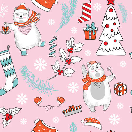 Seamless pattern vector illustration. Christmas tree, polar bear, mistletoe, snowflakes and Christmas elements isolated on pink background. For decor, design, congratulation cards, design cushion, print