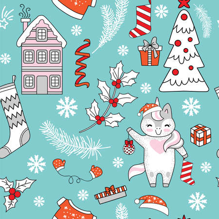 Seamless pattern vector illustration. Christmas tree, unicorn, gifts, snowflakes and Christmas elements isolated on turquoise background. For decor, design, congratulation cards, design cushion, print.