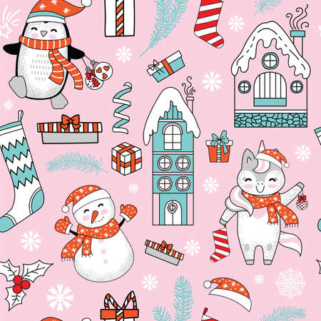 Seamless pattern vector illustration. Christmas tree, houses, unicorn, mistletoe, snowflakes and Christmas elements isolated on pink. For decor, design, congratulation cards, design cushion, print
