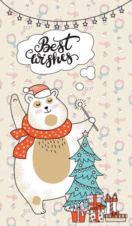 Greeting card, Christmas card with polar bear, Christmas tree, gift boxes and lettering Best Wishes. Vertical vector illustration on pale background. For decor, design, congratulation cards, print