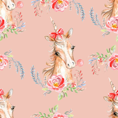 Cute unicorn with pink mane and rose flowers isolated on green background. Watercolor seamless pattern. Illustration for party, print, fabric, wallpaper, design, decor, design cushion, baby shower.