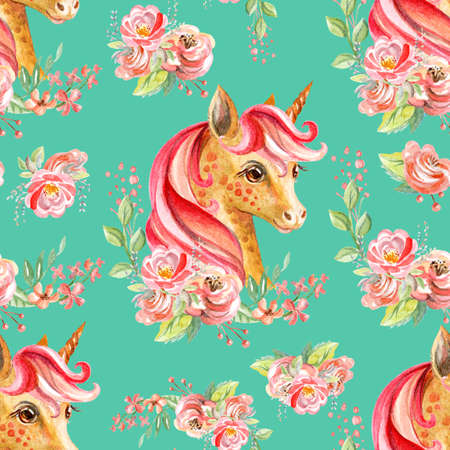 Cute unicorn with pink mane and rose flowers isolated on green background. Watercolor seamless pattern. Illustration for party, print, fabric, wallpaper, design, decor, design cushion, baby shower. Zdjęcie Seryjne - 160171323