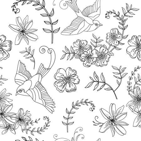 Seamless pattern with isolated flowers and bird. Monochrome background for creating textiles, wallpaper, paper, wedding invitation, design, print, linen. Vector Illustration
