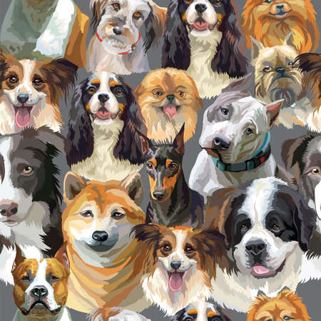 Vector semless pattern with realistic dogs breeds portraits. Colorful background with dogs heads for creating textiles, wallpaper, paper, wedding invitation, design, print, linen. Vector Illustration Zdjęcie Seryjne - 160191259