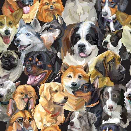 Vector semless pattern with realistic dogs breeds portraits. Colorful background with dogs heads for creating textiles, wallpaper, paper, wedding invitation, design, print, linen. Vector Illustration