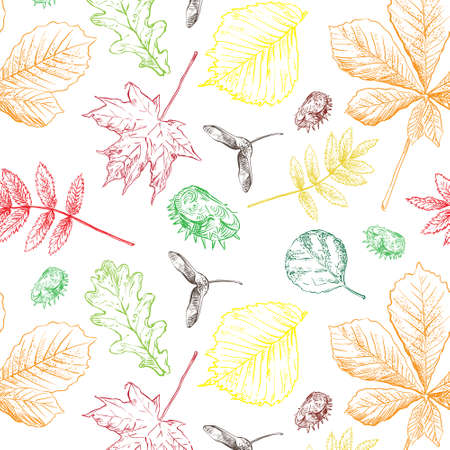Colorful ornamental decorative semless pattern realistic foliage background for creating textiles, wallpaper, paper, wedding invitation, design, print, linen. Vector Illustration Ilustracja