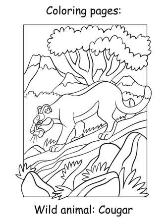 Vector coloring pages cougar walking on a tree in mountain area. Cartoon illustration isolated on white background. For coloring book, preschool education, print and game. Ilustracja