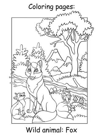 Vector coloring pages with cute fox mom and two cubs in mountain area. Cartoon contour illustration isolated on white background. For coloring book, preschool education, print and game.