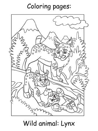 Vector coloring pages with cute lynx mom and two cubs in mountain area. Cartoon contour illustration isolated on white background. For coloring book, preschool education, print and game. Zdjęcie Seryjne - 160250241