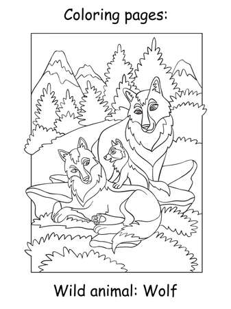 Vector coloring pages with cute wolves family with cub in mountain area. Cartoon contour illustration isolated on white background. For coloring book, preschool education, print and game. Zdjęcie Seryjne - 160250242