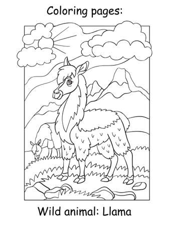 Vector coloring pages with cute llama in mountain area. Cartoon contour illustration isolated on white background. Stock illustration for coloring book, preschool education, print and game.