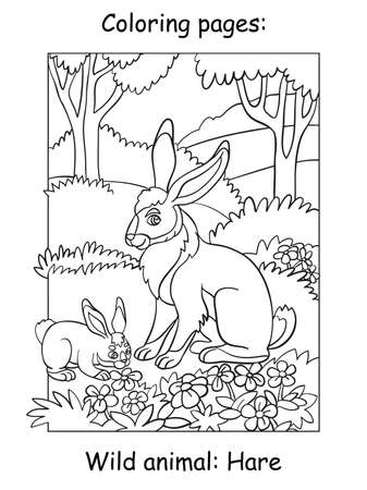 Vector coloring pages with cute hare mom and two cubs in mountain area. Cartoon contour illustration isolated on white background. For coloring book, preschool education, print and game.