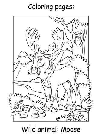 Vector coloring pages with cute moose in mountain area. Cartoon contour illustration isolated on white background. Stock illustration for coloring book, preschool education, print and game. Zdjęcie Seryjne - 160249507