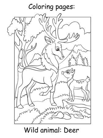 Vector coloring pages with deer dad and son in mountain area. Cartoon contour illustration isolated on white background. Stock illustration for coloring book, preschool education, print and game.
