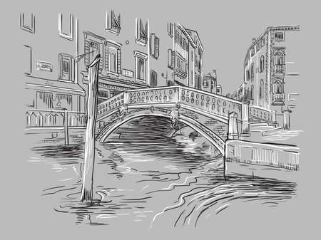 Vector hand drawing illustration of bridge on canal in Venice. Venice cityscape hand drawn sketch in monochrome colors isolated on gray background. Travel concept. For print and design. Zdjęcie Seryjne - 160343968