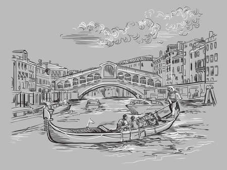 Vector hand drawing sketch illustration of Rialto Bridge on Grand Canal in Venice. Venice skyline hand drawn sketch in monochrome colors isolated on gray background. Travel concept. For print and design. Ilustracja