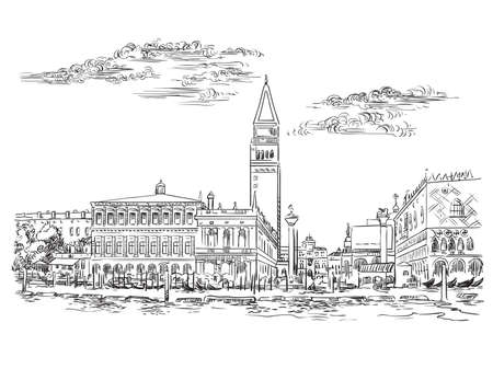 Vector hand drawing sketch illustration of St Mark s Square in Venice. Venice skyline hand drawn sketch in black color isolated on white background. Travel concept. For print and design. Ilustracja