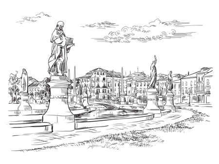Vector hand drawing illustration of Prato della Valle in Padua. Venice cityscape hand drawn sketch in black color isolated on white background. Travel concept. For print and design. Ilustracja
