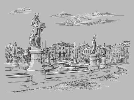 Vector hand drawing illustration of Prato della Valle in Padua. Venice cityscape hand drawn sketch in monochrome colors isolated on gray background. Travel concept. For print and design.