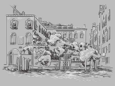 Vector hand drawing illustration of Venice. Venice cityscape hand drawn sketch in monochrome colors isolated on gray background. Travel concept. For print and design.