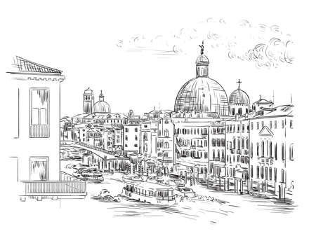 Vector hand drawing sketch illustration of Grand Canal in Venice. Venice skyline hand drawn sketch in black color isolated on white background. Travel concept. For print and design. Zdjęcie Seryjne - 160344675