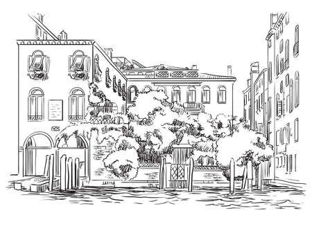 Vector hand drawing illustration of Venice. Venice cityscape hand drawn sketch in black color isolated on white background. Travel concept. For print and design.