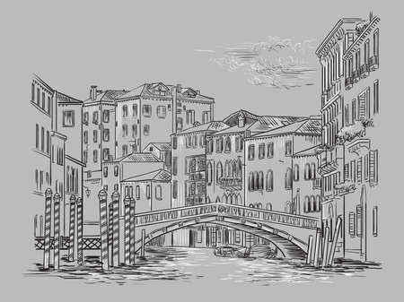 Vector hand drawing illustration of bridge on canal in Venice. Venice cityscape hand drawn sketch in monochrome colors isolated on gray background. Travel concept. For print and design. Ilustracja