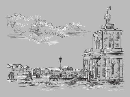 Vector hand drawing sketch illustration of Della Dogane in Venice. Venice skyline hand drawn sketch in monochrome colors isolated on gray background. Travel concept. For print and design.