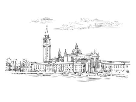 Vector hand drawing sketch illustration of Venice panorama skyline view. Venice hand drawn sketch in black color isolated on white background. Travel concept. For print and design.