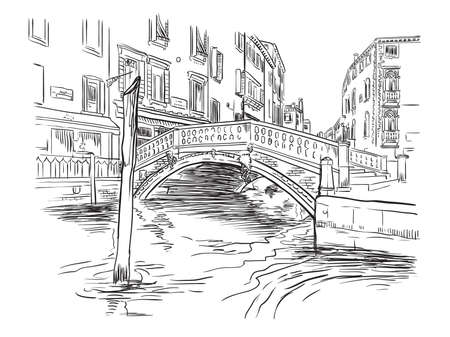 Vector hand drawing illustration of bridge on canal in Venice. Venice cityscape hand drawn sketch in black color isolated on white background. Travel concept. For print and design. Zdjęcie Seryjne - 160344929