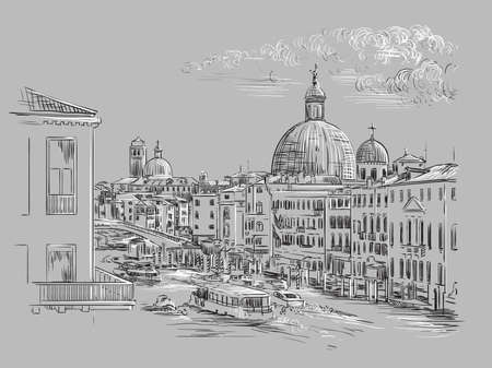 Vector hand drawing sketch illustration of Grand Canal in Venice. Venice skyline hand drawn sketch in monochrome colors isolated on gray background. Travel concept. For print and design. Ilustracja