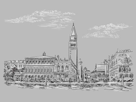 Vector hand drawing sketch illustration of St Mark s Square in Venice. Venice skyline hand drawn sketch in monochrome colors isolated on gray background. Travel concept. For print and design.