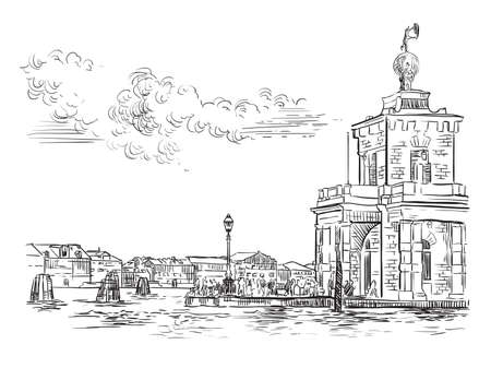 Vector hand drawing sketch illustration of Della Dogane Punta in Venice. Venice skyline hand drawn sketch in black color isolated on white background. Travel concept. For print and design. Zdjęcie Seryjne - 160345017