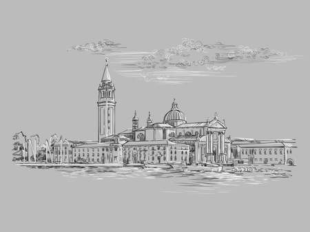 Vector hand drawing sketch illustration of Venice panorama skyline view. Venice hand drawn sketch in monochrome colors isolated on gray background. Travel concept. For print and design.