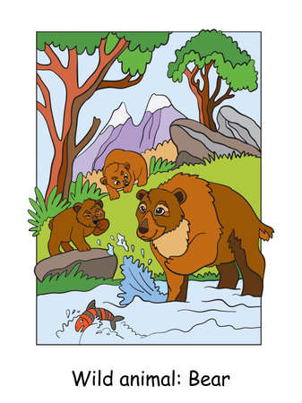 Vector colorful illustration with cute bear mum and cubs in mountain area. Cartoon contour illustration. Stock illustration for coloring book, preschool education, print and game.