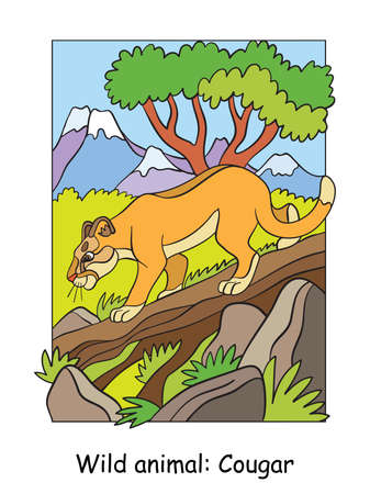 Vector colorful illustration with cute cougar walking on a tree in mountain area. Cartoon contour illustration. Stock illustration for coloring book, preschool education, print and game.