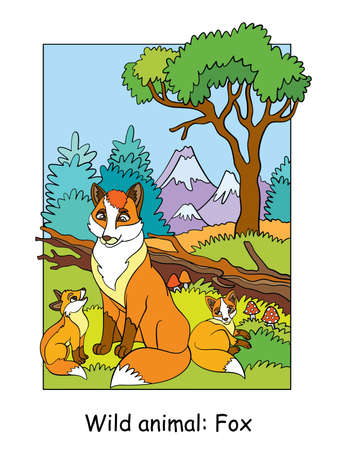 Vector colorful illustration with cute fox mum and cubs in mountain area. Cartoon contour illustration. Stock illustration for coloring book, preschool education, print and game.