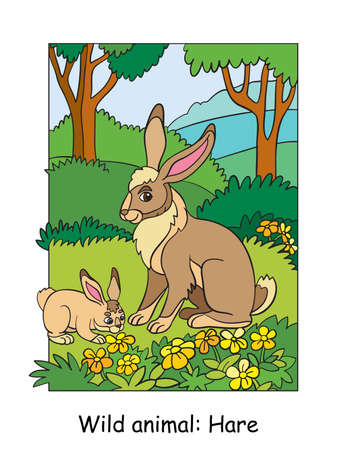 Vector colorful illustration with cute hare mum and cub in forest. Cartoon contour illustration. Stock illustration for coloring book, preschool education, print and game.