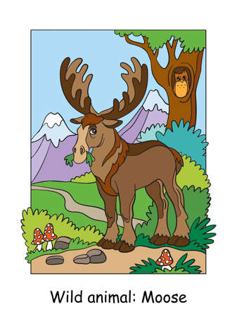Vector colorful illustration with cute moose in mountain area. Cartoon contour illustration isolated on white background. Stock illustration for coloring book, preschool education, print and game. Ilustracja