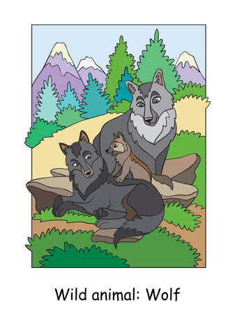 Vector colorful illustration with cute wolves family in mountain area. Cartoon contour illustration isolated on white background. Stock illustration for coloring book, preschool education, print and game.