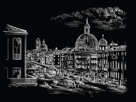 Vector hand drawing sketch illustration of Grand Canal in Venice. Venice skyline hand drawn sketch in white color isolated on black background. Travel concept. For print and design. Ilustracja